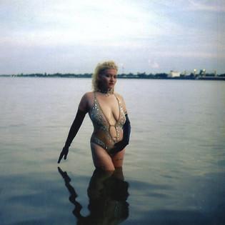 polaroid, portrait in water