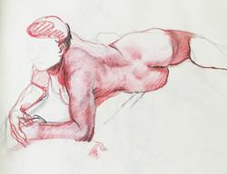 model lying down