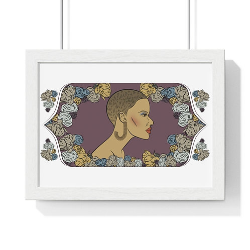 Woman with cropped hair, Framed Horizontal Poster