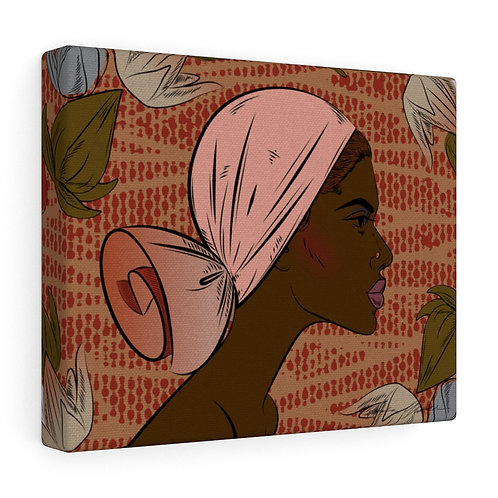 Woman With Low Tied Scarf Canvas Gallery Wraps