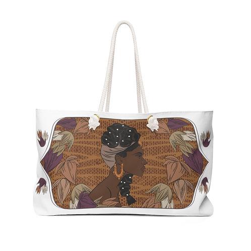 Woman With Pearl Braids Weekender Bag