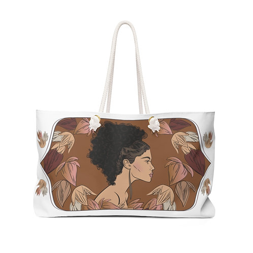 Woman With Curly Ponytail Weekender Bag