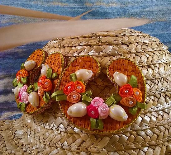 Ella Floral Woven Hoops