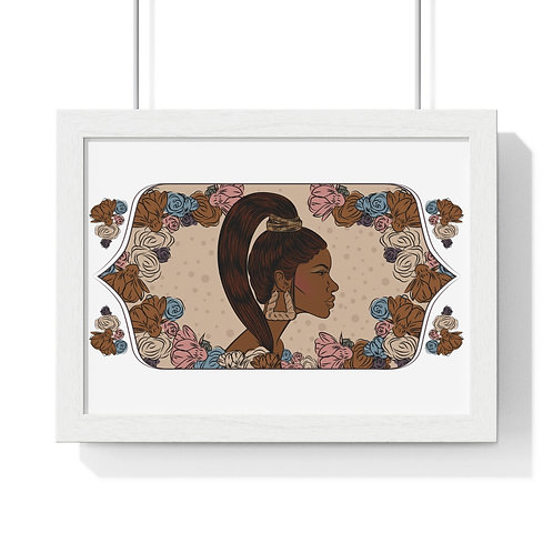 Woman with ponytail,  Framed Horizontal Poster