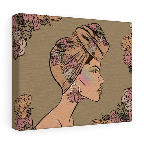 Woman With Bun Wrapped Scarf Canvas Gallery Wraps