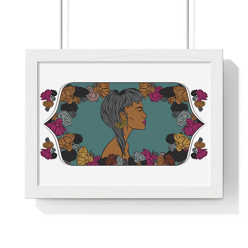 Woman with fringe haircut, Framed Horizontal Poster