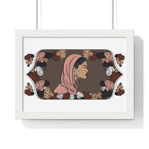 Woman with head covering, Framed Horizontal Poster