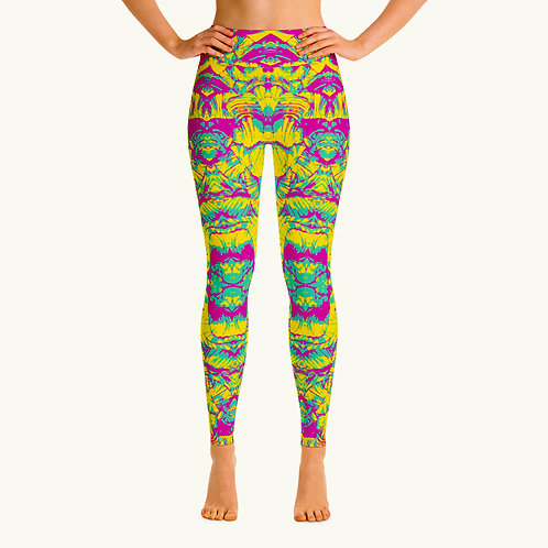 Blue Pink Yellow Abstract Legging