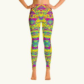 Blue Pink Yellow Abstract legging FRONT.