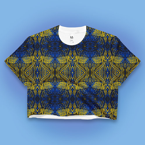 Blue Yellow Tribe Crop Top