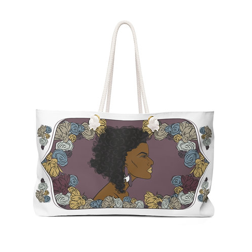 Woman With Curly Bob Weekender Bag