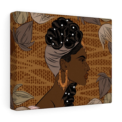 Woman With Braids and Pearls Canvas Gallery Wraps