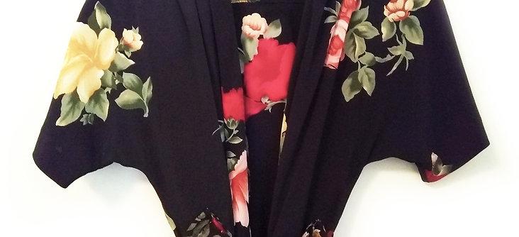 Black Floral Duster Dress & Shorts