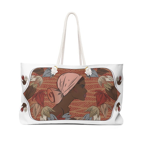 Woman With Low Wrapped Scarf Weekender Bag