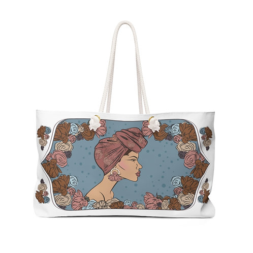 Woman With Scarf Bun Weekender Bag
