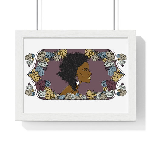 Woman with curly bob, Framed Horizontal Poster