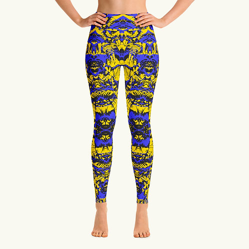 Black Blue Yellow Abstract Legging