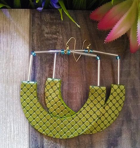 Gia Green Hoop Earrings