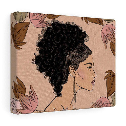 Woman With Curly Ponytail Canvas Gallery Wraps
