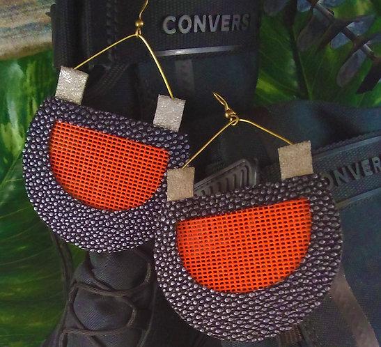 Meagan Orange Leather Sport Earrings