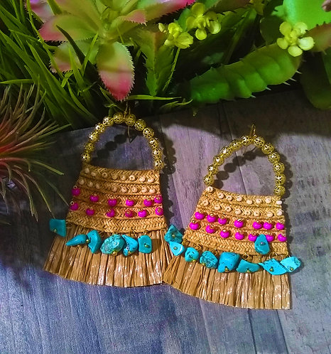 Asha Tropical Straw Earrings