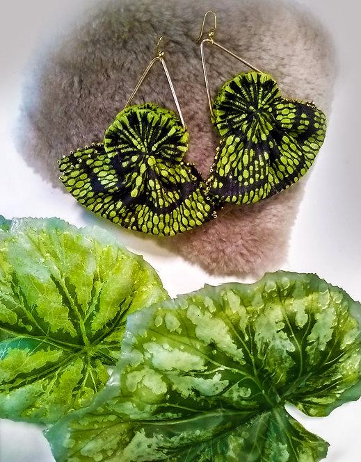 Raven Green Fan Earrings