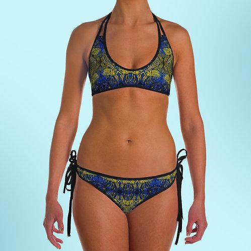 Rabia Bikini Tribal Blue Yellow Black Swimsuit