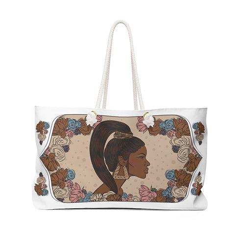 Woman With Sleek Ponytail Weekender Bag