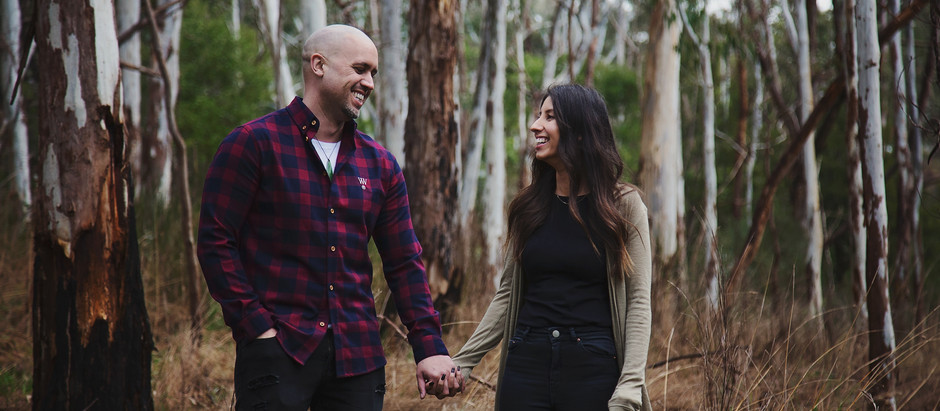 Two swollen hearts in the woods || Adelaide Hills Engagement Session