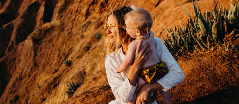 A sunset family session at cactus canyon