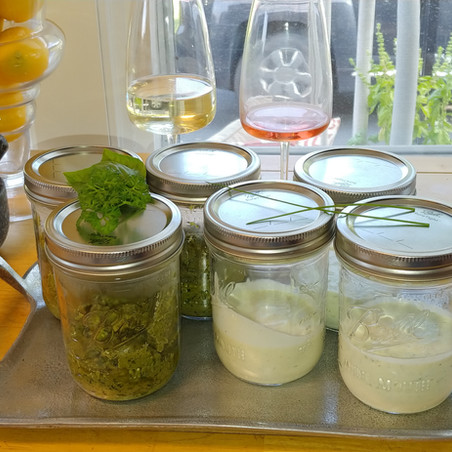 Sister's Kitchen Capers: Making Pesto and Tzatziki Sauce