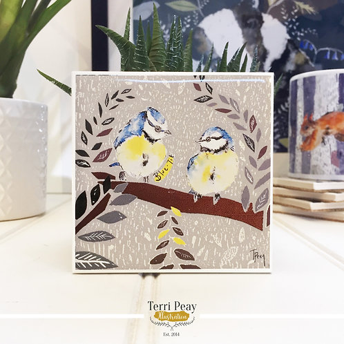 Hand Crafted 'Blue-Tit' Coaster