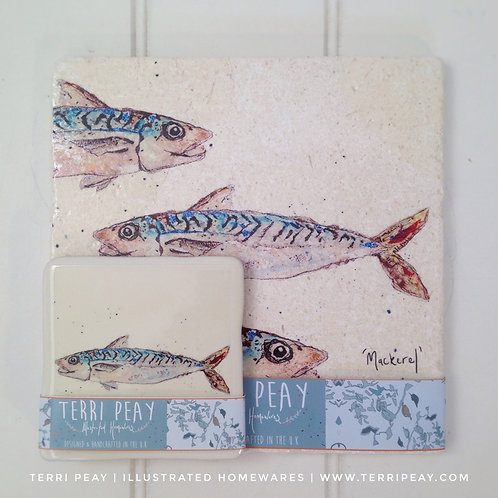 Placemat & Coaster Gift Set- 'Mackerel'