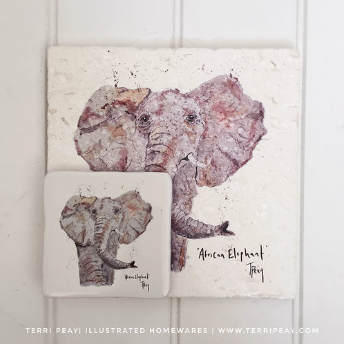 Placemat & Coaster Gift Set- 'African Elephant'