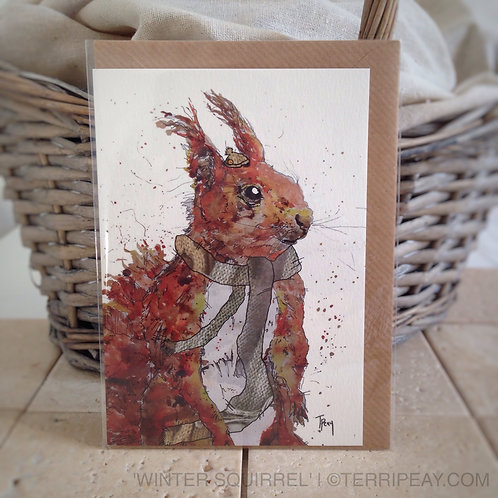'Winter Squirrel' Card