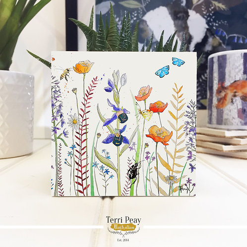 Hand Crafted 'Wild Flowers' Coaster