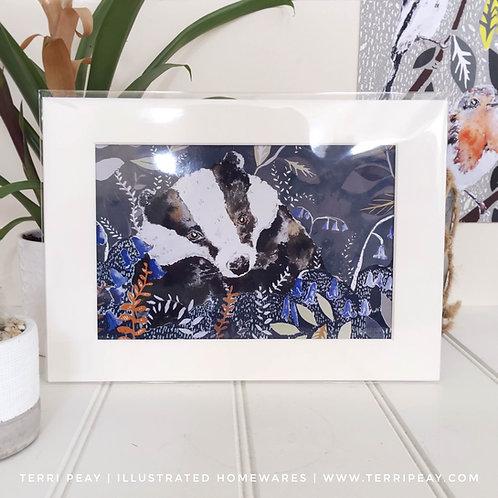 'Woodland Badger' Print