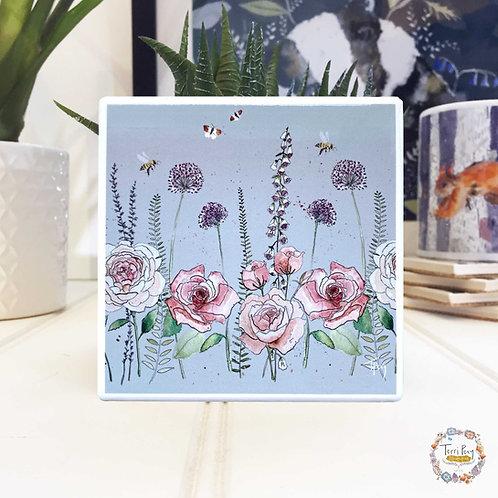 'Rose Garden' Light Grey Coaster