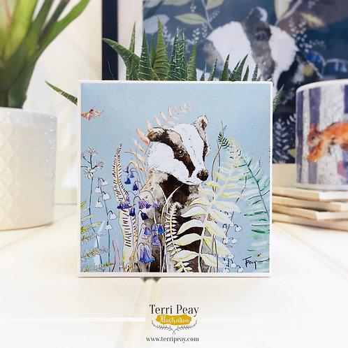 'Woodland Badger' Sky Blue Coaster