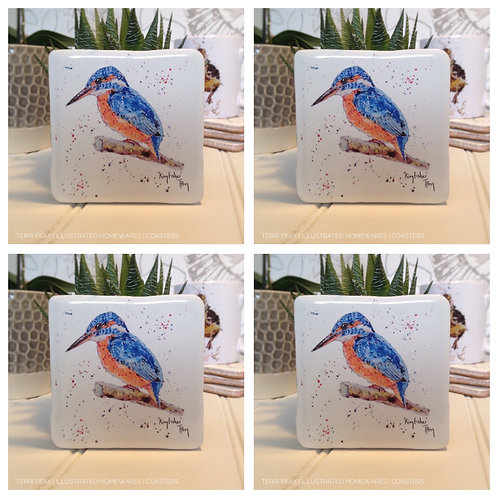 Hand Crafted 'Kingfisher Coasters' Set of 4