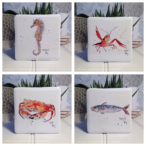 Hand Crafted 'Ocean Coasters' Set of 4