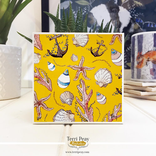 'Nautical Yellow' Hand Crafted Coaster