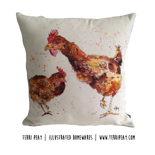 'The Two Hens' Cushion