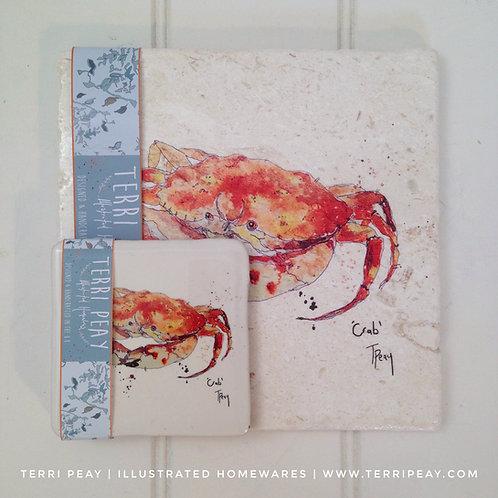 Placemat & Coaster Gift Set- 'Crab'