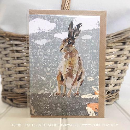 'Hare Watching Sunrise' Card