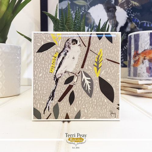 Hand Crafted 'Long Tailed-Tit' Coaster