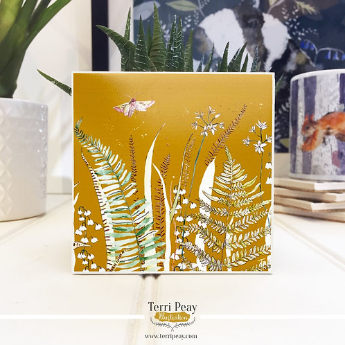 'Wild Woodland' Mustard Yellow Coaster