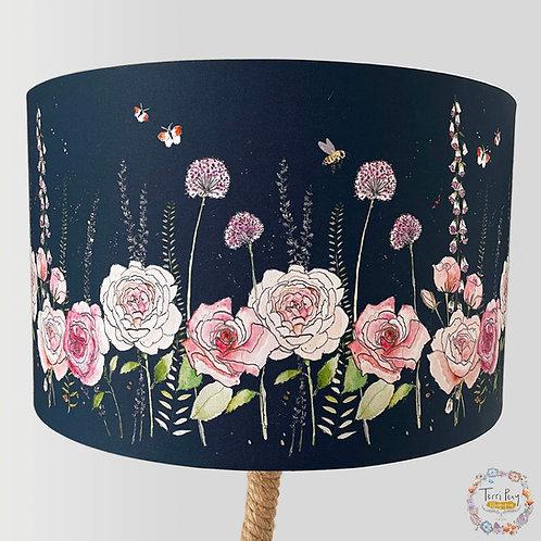 'Rose Garden' Lampshade - Navy Blue