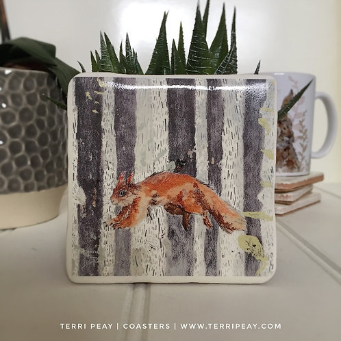 'The Leaping Squirrel' Coaster