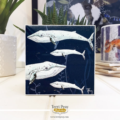 Hand Crafted 'Ocean Blue Whale' Coaster
